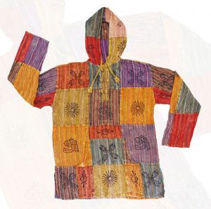 Hippy Top~Unisex Ethnic Print Patchwork Hooded Jacket~Fair Trade by Folio gothic Hippy FX327